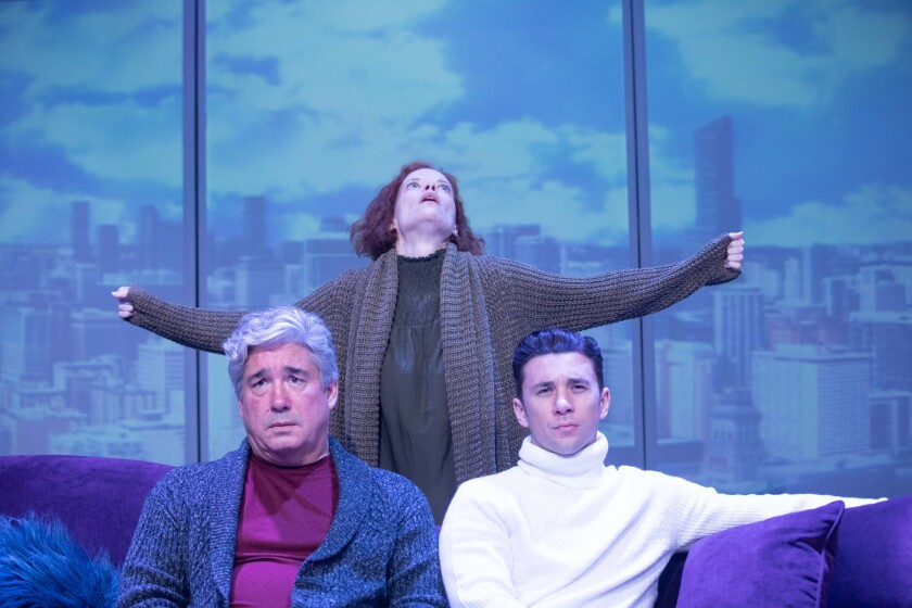 "Ann Noble with Darrett Sanders, left, and Billy Flynn in Rogue Machine's ""Disposable Necessities."""