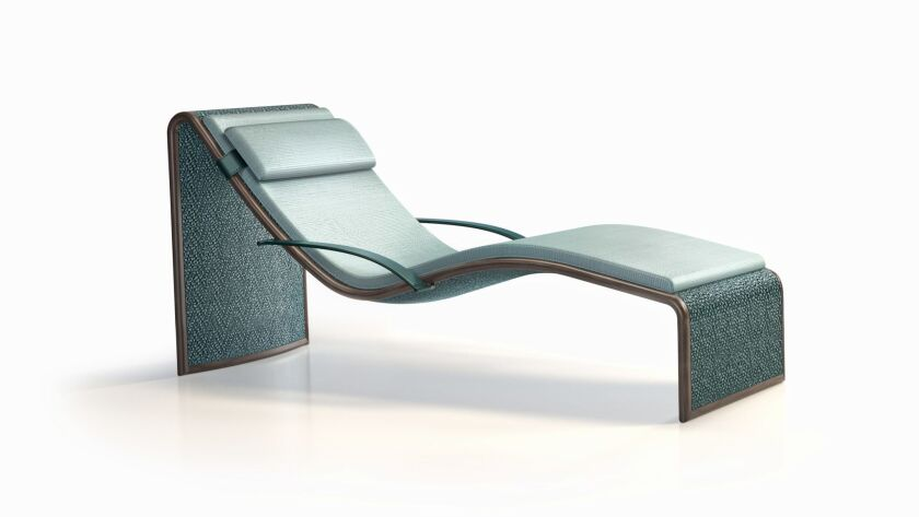 The woven leather ONDA chaise lounge (price available upon request) from Armani/Casa was inspired by