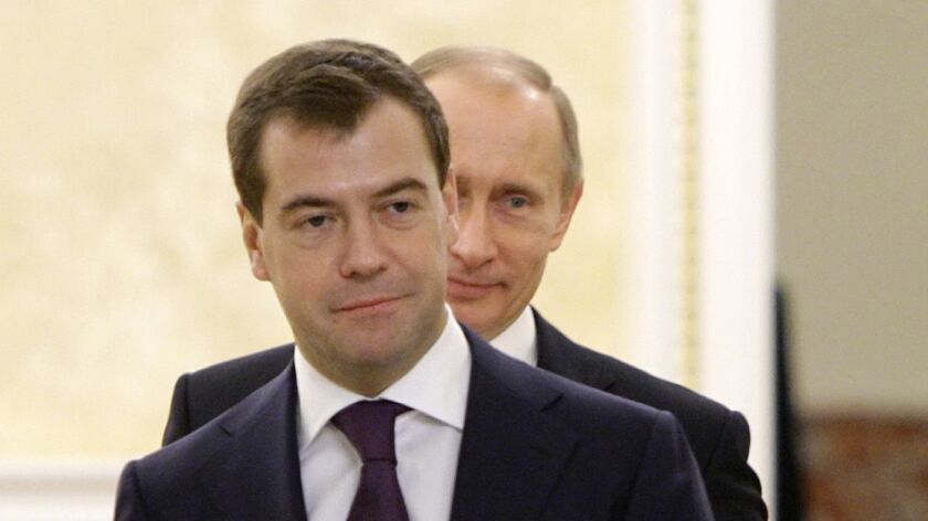 Russian President Dmitry Medvedev and Prime Minister Vladimir Putin in Moscow on Dec. 29, 2008.