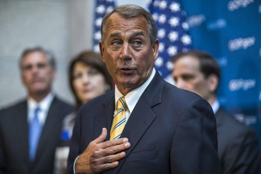 Speaker of the House John A. Boehner (R-Ohio) speaks to the media on Capitol Hill.