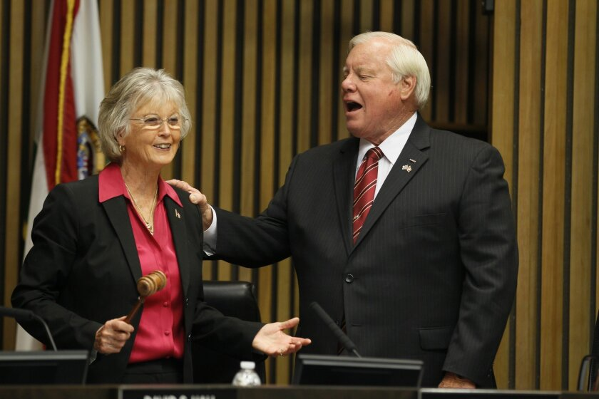 "San Diego County Supervisor Bill Horn was the lone vote on Jan. 27 against implementing ""Laura's Law"" in San Diego County. He's pictured here with Supervisor Dianne Jacob on Jan. 6 when he took over as chairman of the board."