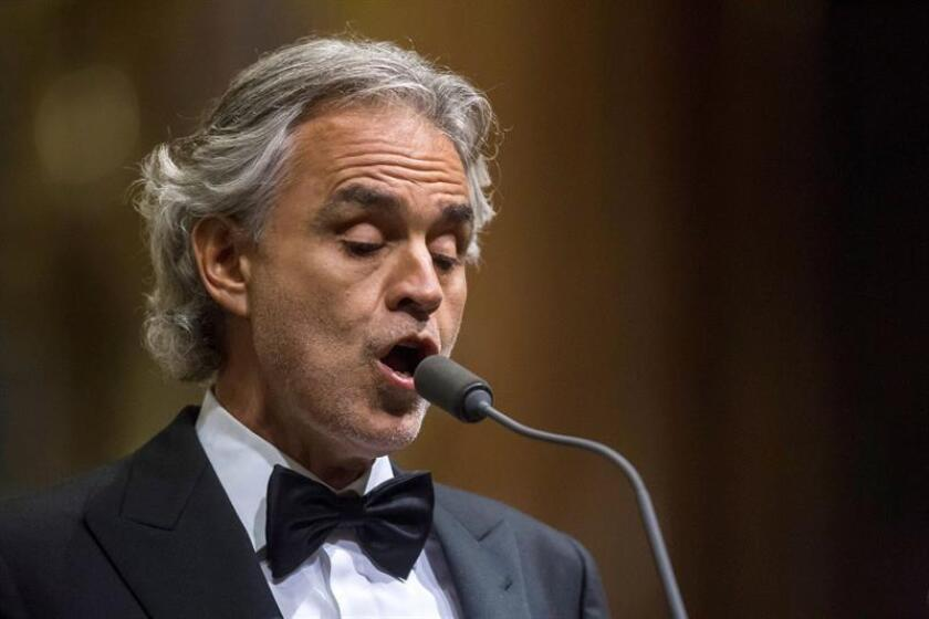 Italian tenor Andrea Bocelli performs during his free concert in St. Stephen's Basilica in Budapest, Hungary. EFE/EPA