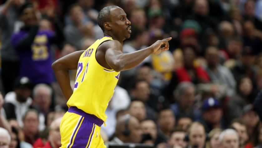 Los Angeles Lakers guard Andre Ingram heads to the other end of the court during the second half of