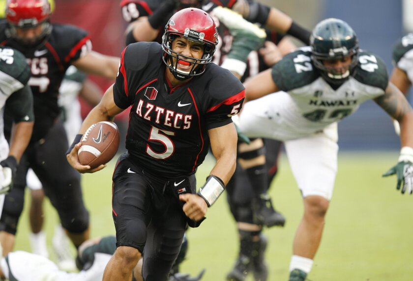 Aztecs quarterback Ryan Katz rips off his first touchdown run during SDSU's football game against Hawaii Saturday night at Qualcomm Stadium.