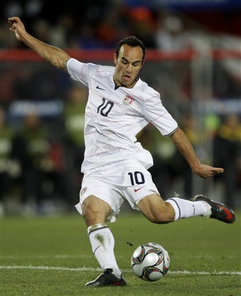 USA's Landon Donovan goes to score their second goal during their Confederations Cup final soccer match against Brazil at Ellis Park Stadium in Johannesburg, South Africa, Sunday, June 28, 2009. (AP Photo/Andre Penner)