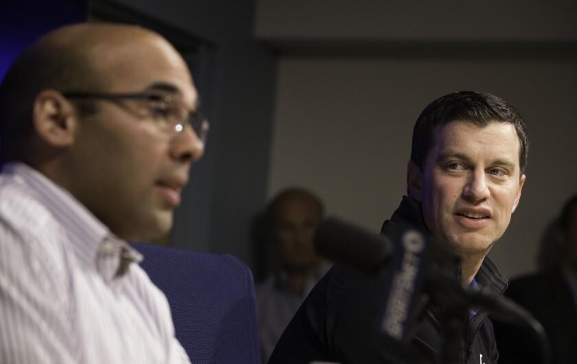 Farhan Zaidi, left, and Andrew Friedman.