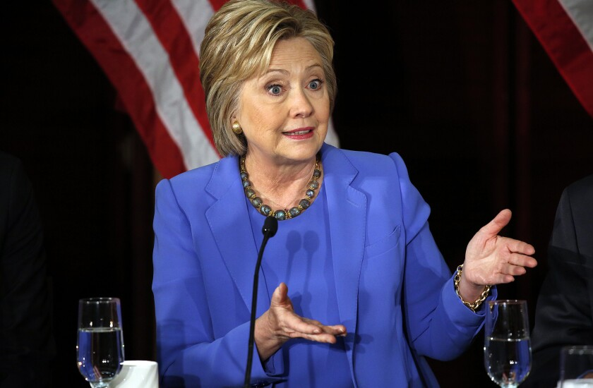 Hillary Clinton at a forum at USC last week.