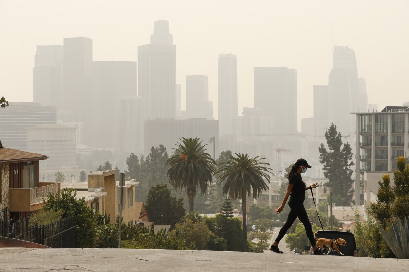 Breya Hodge walks her dog  as smoke  casts a pall over downtown Los Angeles
