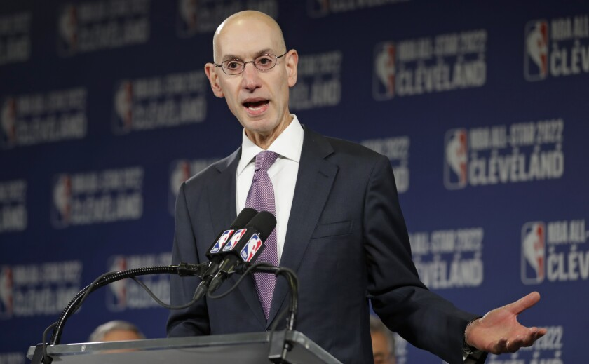 NBA Commissioner Adam Silver speaks during a news conference.