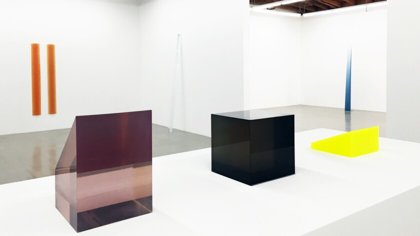 Installation view of sculptures by Peter Alexander at Parrasch Heijnen Gallery in L.A.