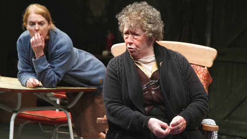 "Marie Mullen as Mag, foreground, and Aisling O'Sullivan as Maureen in Martin McDonagh's ""The Beauty Queen of Leenane."""