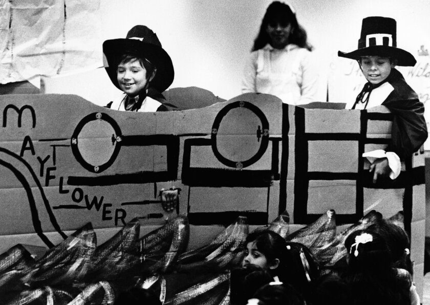 Children from Liberty Boulevard School in South Gate in 1984 put on a Thanksgiving play, complete with a Mayflower replica.