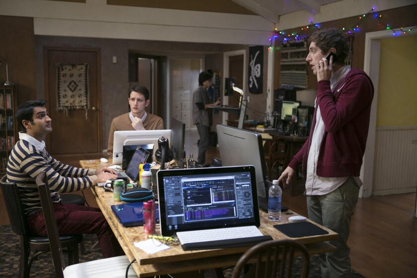 "Kumail Nanjiani, left, Zach Woods and Thomas Middleditch star in ""Silicon Valley."""