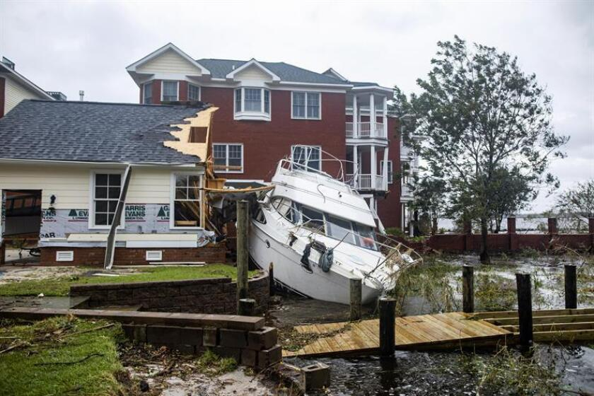 A destroyed boat after Hurricane Florence tore through New Bern, North Carolina USA. EFE/EPA/FILE