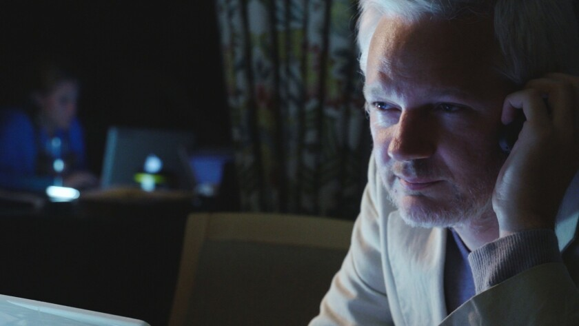 "Julian Assange in a scene from the documentary ""Risk."""