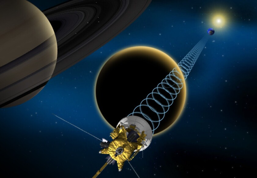 Cassini successfully bounced signals off Saturn's moon Titan during a flyby, revealing important details about the moon's surface.