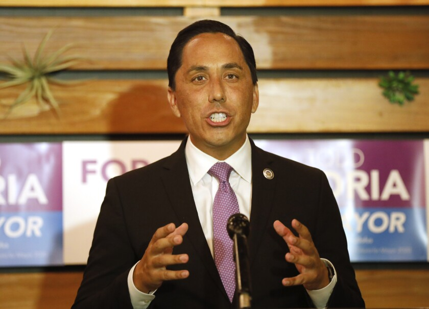 San Diego Mayor Todd Gloria gives a speech on the campaign trail in 2020.