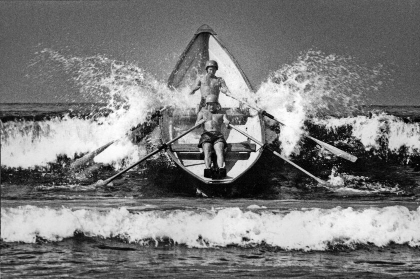 1968 staff file photo of Santa Monica Lifeguards Mike Kent, front, and Capt. Jim Richards practice f