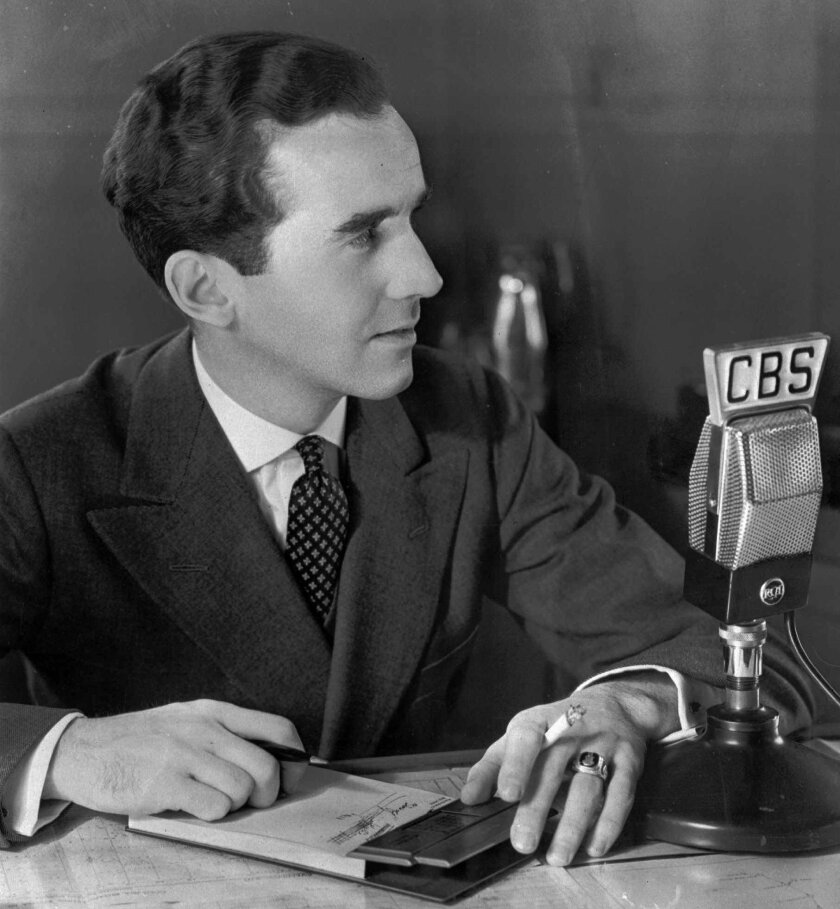 CBS newsman Edward R. Murrow is shown at work in 1939.