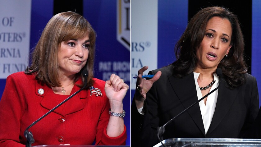 California U.S. Senate Democratic candidates Rep. Loretta Sanchez, left, and state Atty. Gen. Kamala Harris debate in Los Angeles.