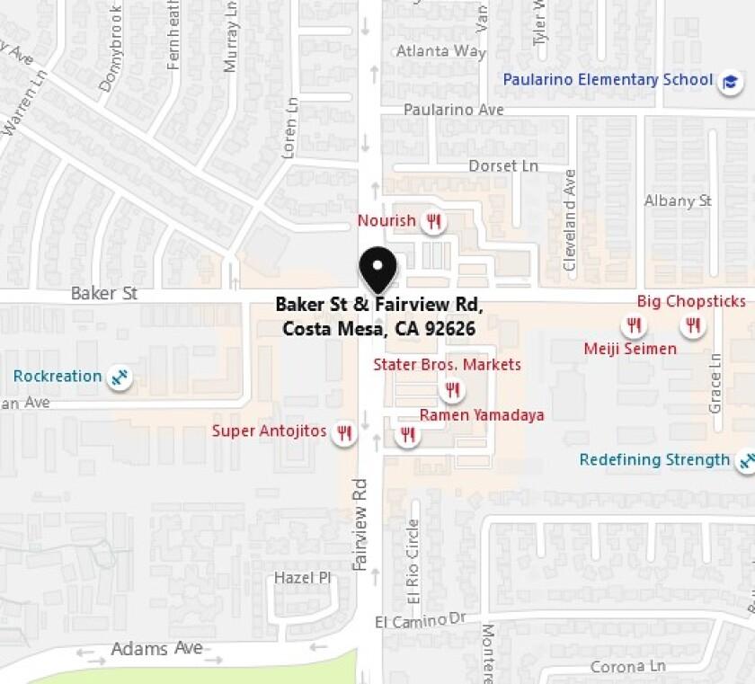 Costa Mesa crash map