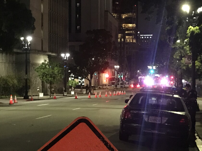 San Diego police investigated a shooting May 1 outside the downtown San Diego Central Jail.