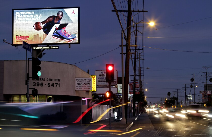 A digital billboard shines down on Lincoln Blvd. in Los Angeles on October 15, 2012.