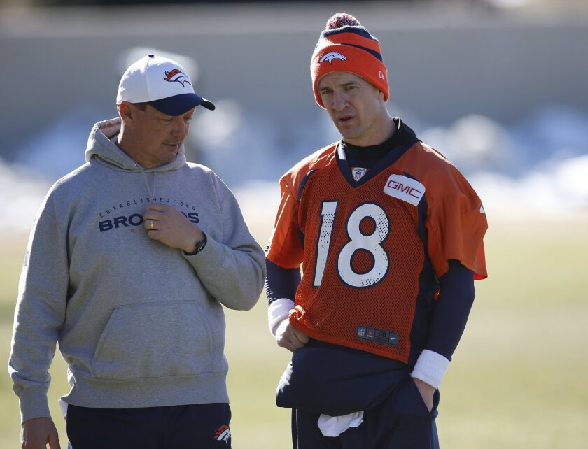 Denver Broncos offensive coordinator Rick Dennison, left, confers with quarterback Peyton Manning following the NFL football team's practice Friday, Jan. 22, 2016, in Englewood, Colo. The Broncos are scheduled to host the New England Patriots in the AFC championship game Sunday in Denver. (AP Photo/David Zalubowski)