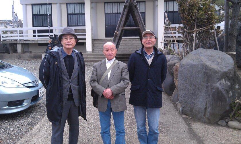 Three of the Naoetsu park's supporters, from left: Shoji Yamaga, Mikio Sekigawa and Yoshikazu Kondo