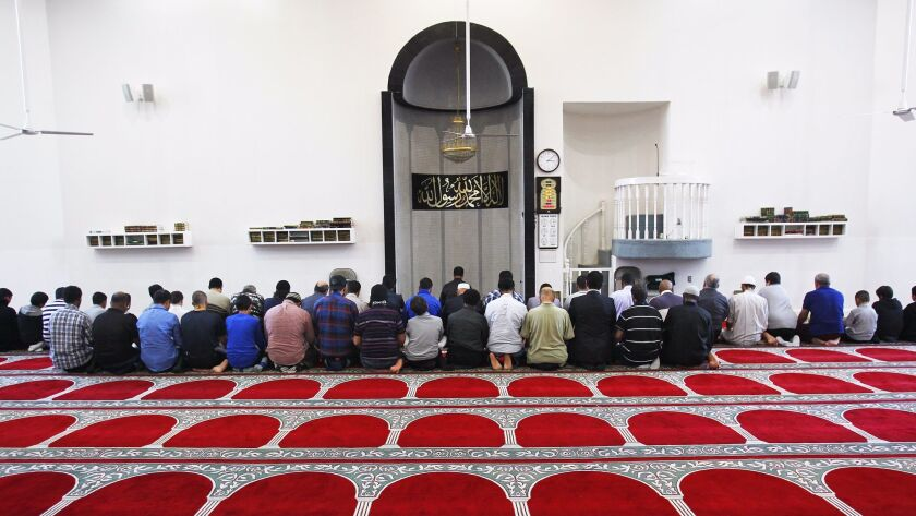 Jan. 15, 2014_San Diego_ California_USA_  Worshipers pray during an afternoon prayer at the Islamic
