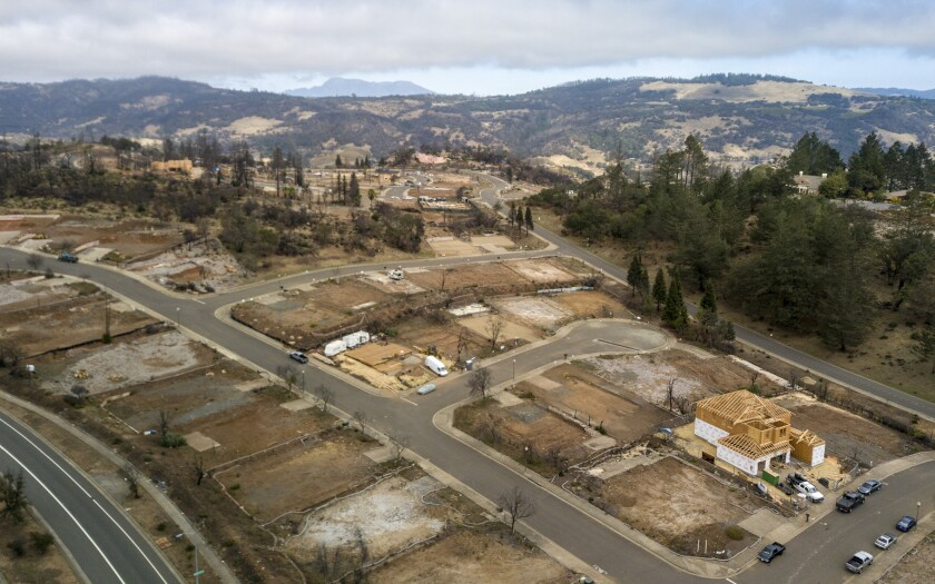 A year after the Tubbs fire struck in October 2017, a subdivision in Santa Rosa awaits rebuilding.
