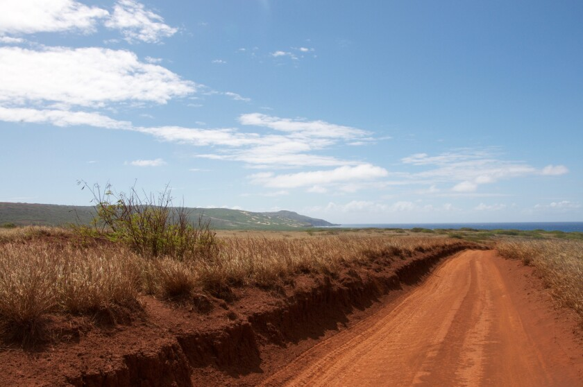 "A dusty red road leads to what the Nature Conservancy calls a ""last stronghold of native coastal plants in the Hawaiian Islands."