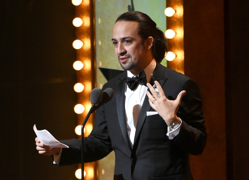 "Lin-Manuel Miranda accepting one of 11 Tonys awarded to ""Hamilton."""