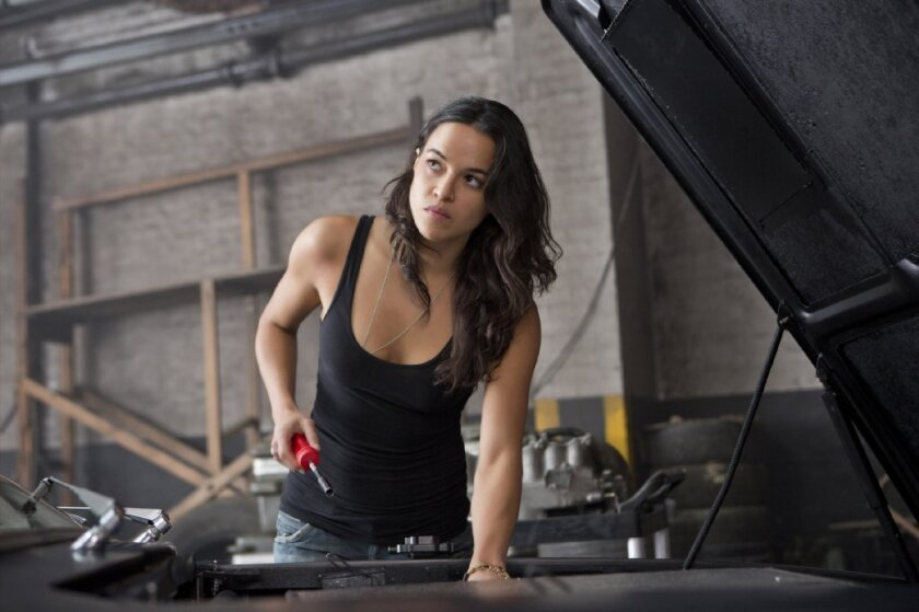 "An annual study by USC once again shows disparities in minority representation on film. Latinas, when they do get on film, are most likely to be depicted in sexualized ways. Seen here: Michelle Rodriguez in ""Fast & Furious 6."""