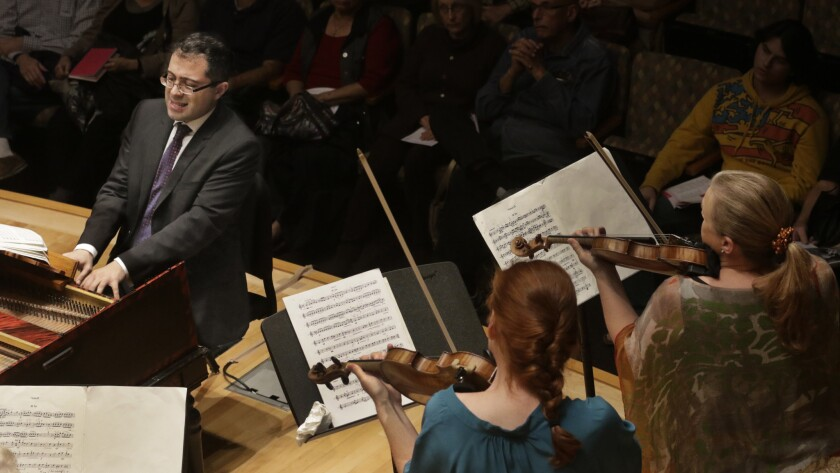 Mahan Esfahani with the Los Angeles Chamber Orchestra in 2015