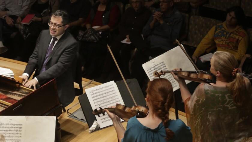 LOS ANGELES. NOV. 12 , 2015. Mahan Esfahani, harpsichordist with Tereza Stanislav, violin, Margaret