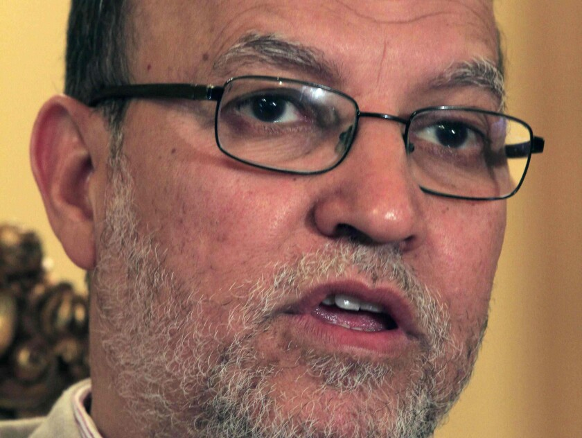 Essam el-Erian, deputy head of the Egyptian Muslim Brotherhood's political party, speaks during an interview at the Muslim Brotherhood headquarters in Cairo in 2011.