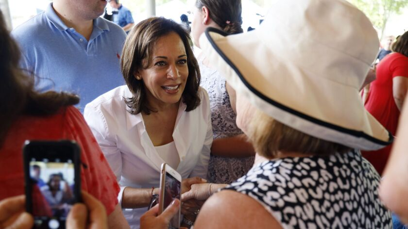 Democratic presidential candidate Sen. Kamala Harris greets residents during the West Des Moines Democrats' annual picnic July 3.