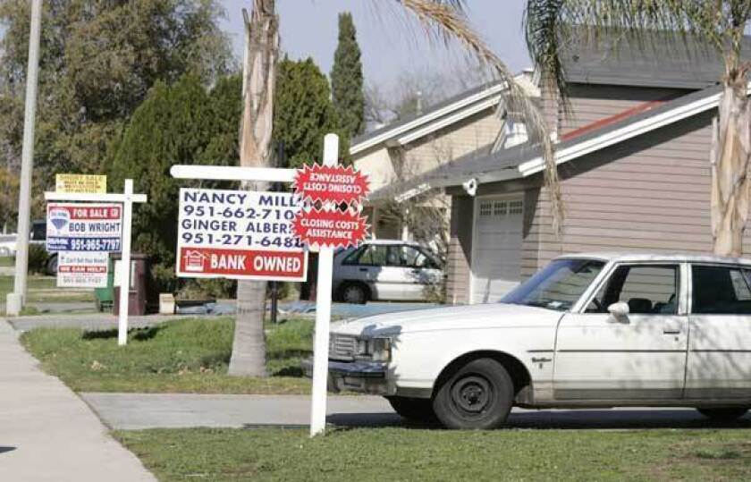 A decline in the number of foreclosed homes is one reason prices in Southern California have risen. Above, homes for sale in Moreno Valley in 2009.