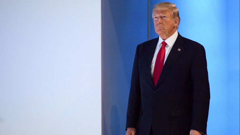 U.S. President Donald Trump, arrives to a plenary session in the Congress Hall on the last day of th