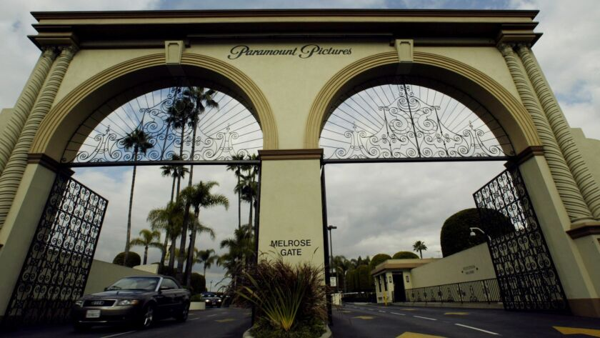 A view of of the Melrose Avenue entrance to the Paramount Pictures lot in Hollywood.