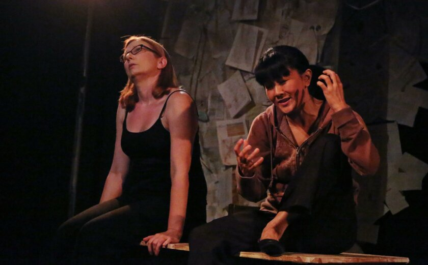 "Jennie Olson Six and Jyl Kaneshiro in InnerMission Productions' ""Precious Little,"" at Diversionary Black Box Theatre in University Heights."