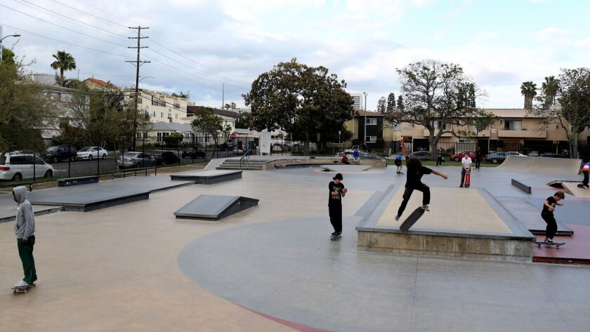 LOS ANGELES, CA-MAY 6, 2019: The Stoner Skate Plaza has many street features that are taken from pre