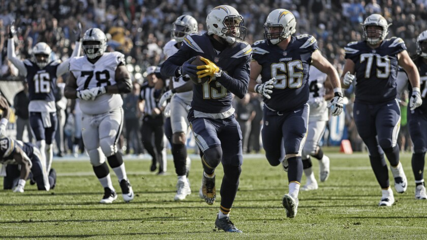 Receiver Keenan Allen and the Chargers play the Raiders on Oct. 7 and Nov. 11 this season.