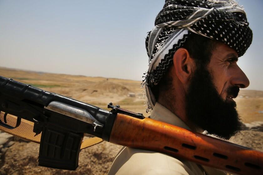 A soldier with the Kurdish peshmerga