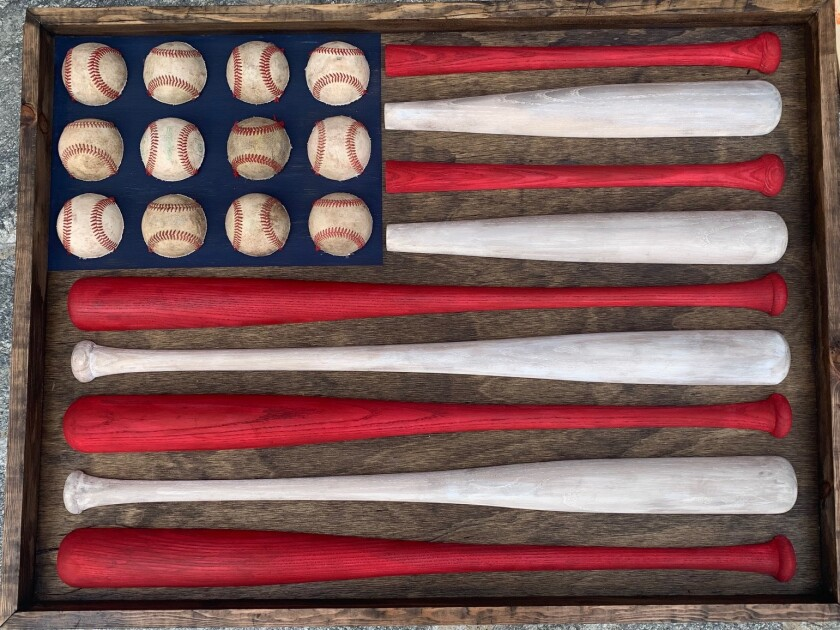 2nd grade art project: America's Favorite Pastime, 36 x 26 in., mixed media.