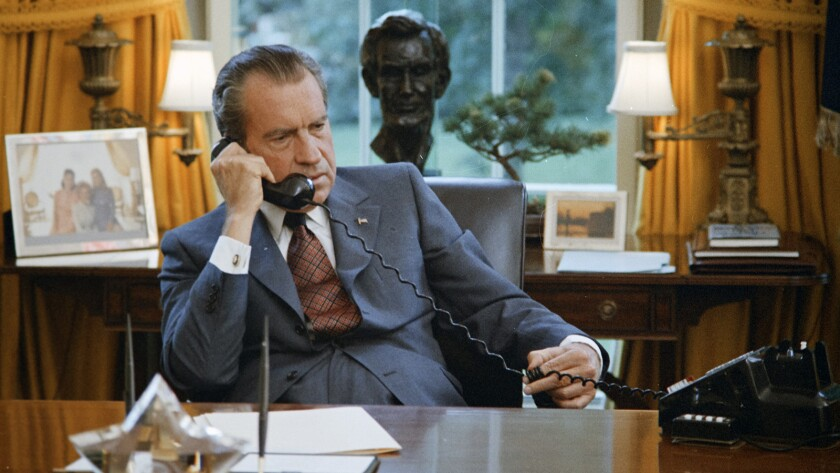 """President Richarch Nixon in """"Watergate"""" on History."""
