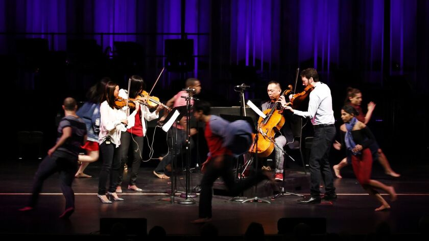Southern California is awash in chamber music. The trick is sorting out who to hear, and where. Pictured here, the Lyris Quartet performing with dancers at the Valley Center for the Performing Arts in Northridge as part of the Jacaranda music program.