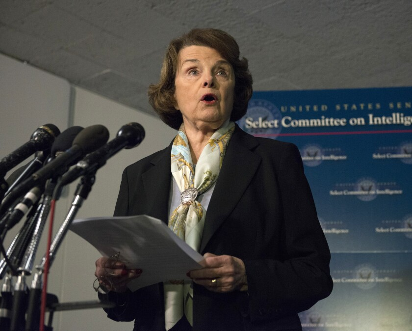 Senate Intelligence Committee Chair Sen. Dianne Feinstein of California, the target of criticism by former spy chief Michael Hayden.