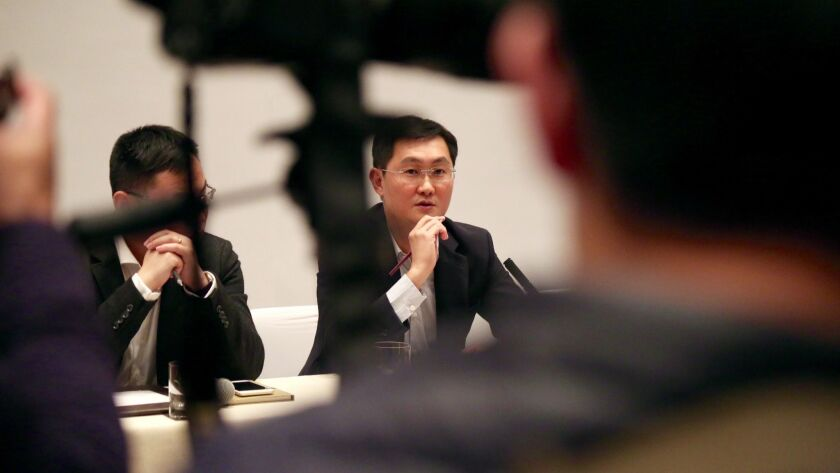 """""""Pony"""" Ma Huateng, chairman and chief executive officer of Tencent Holdings Ltd., during a news conference at New World Hotel in Beijing in 2016."""